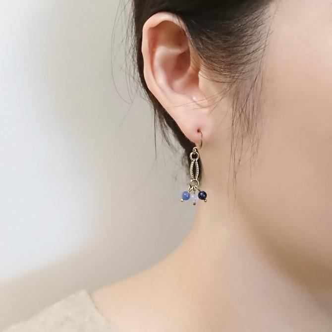 ::地中海之眼:: 跳躍的海水藍蘇打石黃銅耳環